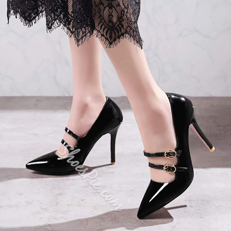 Pointed Toe Buckle Stiletto Heels