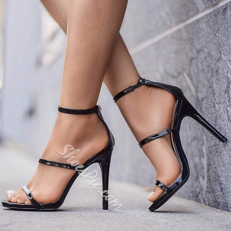 51532cbafa5 Sexy Black Open Toe Zipper Stiletto Heel Sandals