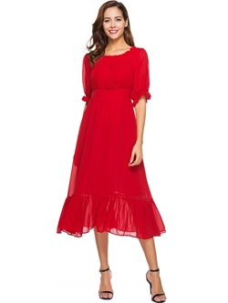 Shoespie Slash Neck Pleated Elegant Women's Maxi Dress
