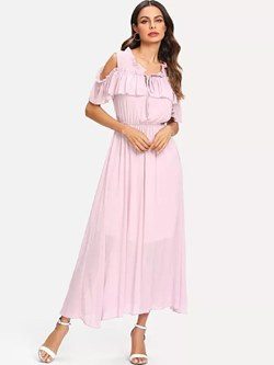 Shoespie Falbala Elegant Plain Women's Maxi Dress