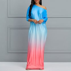Shoespie Gradient Print Pullover Women's Maxi Dress