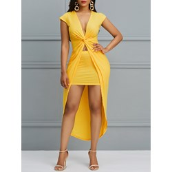 Asymmetric Pleated Plain Sexy Women's Bodycon Dress