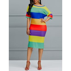 Shoespie Polyester Color Block Women's Bodycon Dress