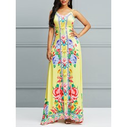 Travel Look Floral Hollow Women's Maxi Dress