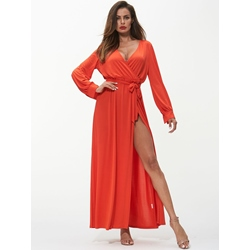 Shoespie Bowknot Split Plain Women's Maxi Dress