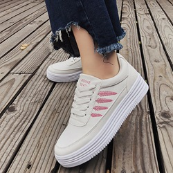 Embroidery Platform Lace-Up Casual Sneakers
