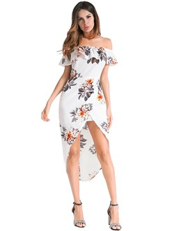 Shoespie Floral Falbala Print Women's Bodycon Dress