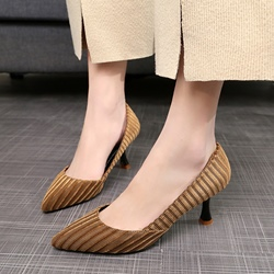Shoespie Plain Pointed Toe Low Heels