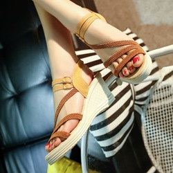 Shoespie Patchwork Plain Woven Wedge Sandals