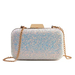 Shoespie Sequins Chain Hasp Crossbody Bag