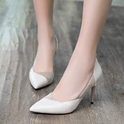 Shoespie Patchwork Plain Pointed Toe Stiletto Heels