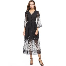 Shoespie Flare Sleeve Floral V Neck Women's Maxi Dress