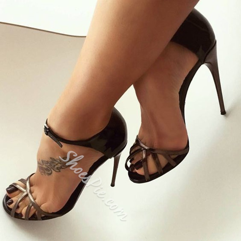 Shoespie Peep Toe Black Dress Sandals