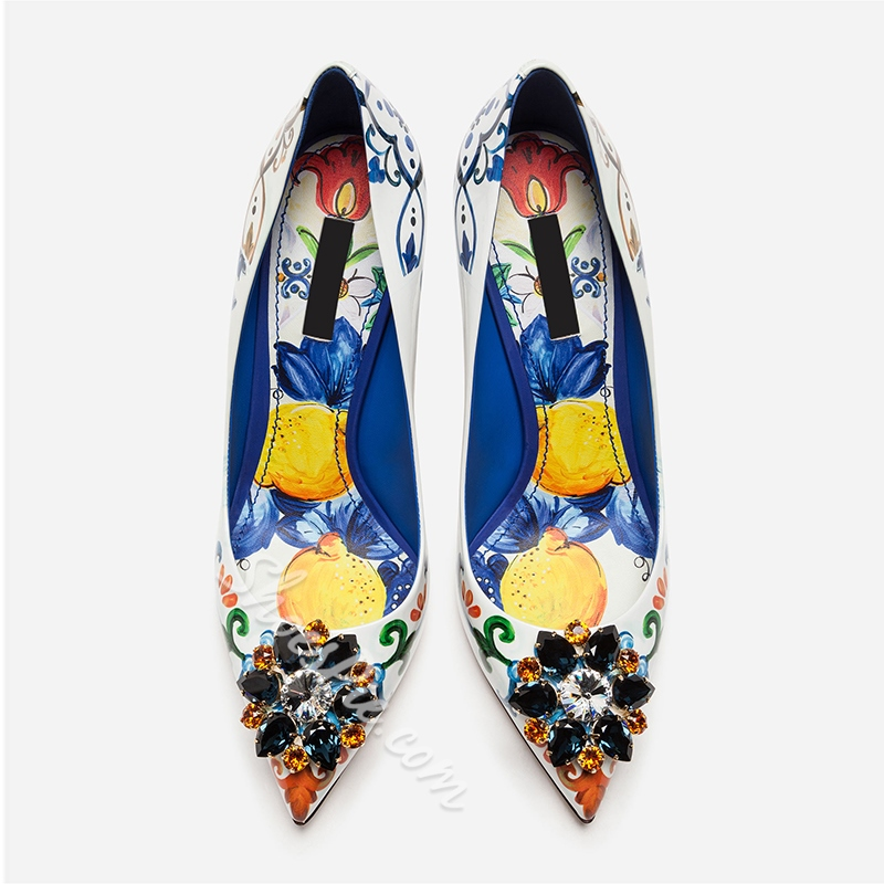 Shoespie Print Pointed Toe White Stiletto Heels