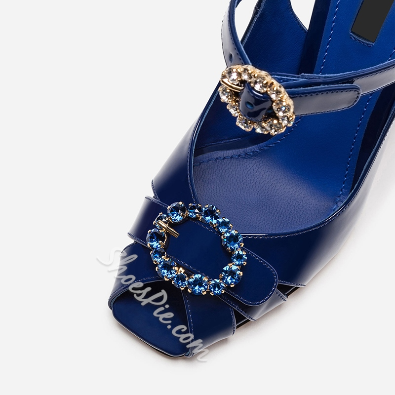 Shoespie Rhinestone Peep Toe Blue Dress Sandals