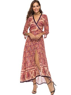 Shoespie Floral V Neck Bohemian Women's Maxi Dress