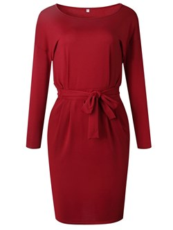 Shoespie Round Neck Lace-Up Women's Bodycon Dress