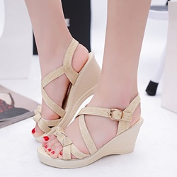 Shoespie Bowknot Platform Buckle Wedge Sandals