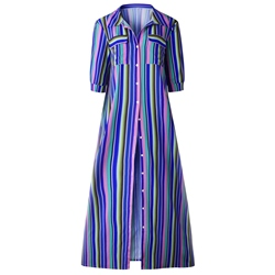 Shoespie Lapel Button Regular Women's Maxi Dress