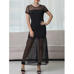 Shoespie Polka Dots Mesh Women's A-Line Dress