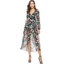 Shoespie Asymmetric Print Floral Women's Maxi Dress