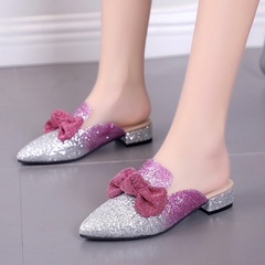 Shoespie Bow Sequin Slip-On Mules Shoes