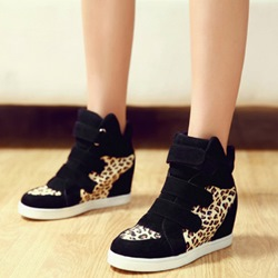 Shoespie Platform Leopard High-Cut Upper Sneakers