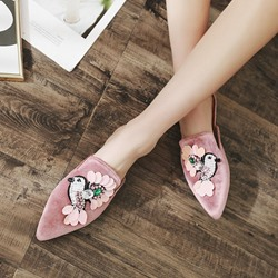 Shoespie Appliques Rhinestone Slip-On Mules Shoes
