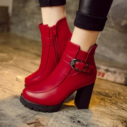 Shoespie Platform Round Toe Ankle Boots