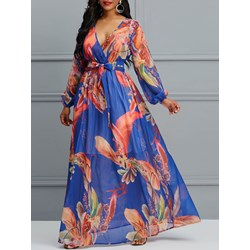 Shoespie Print V Neck Pullover Women's Maxi Dress
