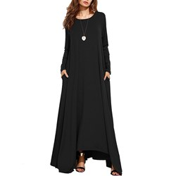 Shoespie Round Neck Asymmetric Women's Maxi Dress