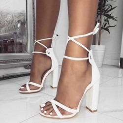 Shoespie Plain Open Toe Lace-Up Stiletto Heels