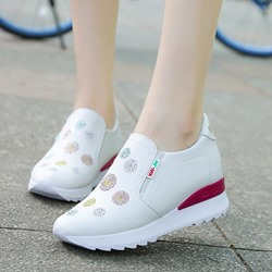 Shoespie Embroidery Platform Slip-On Sneakers