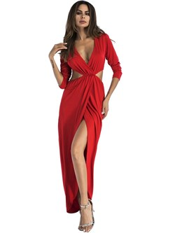 Shoespie Backless Pleated Sexy Women's Maxi Dress
