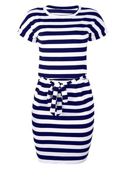 Shoespie Stripe Bowknot Casual Women's Bodycon Dress