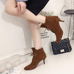 Shoespie Pointed Toe Lace-Up Front Ankle Boots