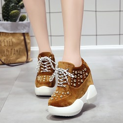 Shoespie Platform Rivet Lace-Up Sneakers