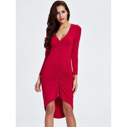 Shoespie Plain V Neck Pleated Women's Bodycon Dress