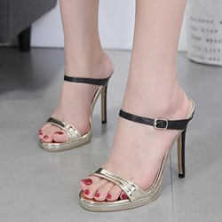Shoespie Buckle Color Block Golden Stiletto Heels