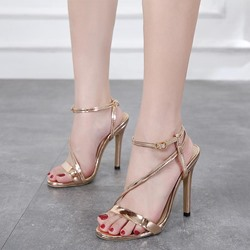 Shoespie Plain Open Toe Golden Stiletto Heels