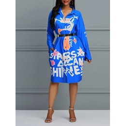 Shoespie Lapel Print Cartoon Letter Women's Maxi Dress