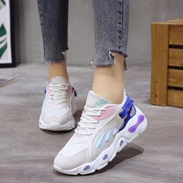 Shoespie Patchwork Color Block Platform Sneakers