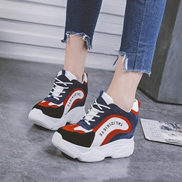 Shoespie Platform Color Block Lace-Up Sneakers