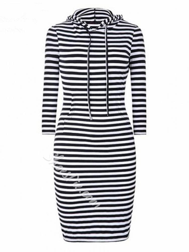 Shoespie Hooded Regular Stripe Women's Bodycon Dress
