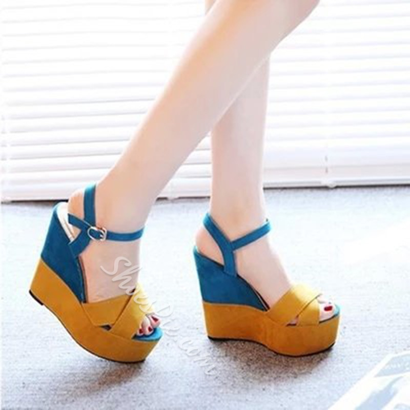 Shoespie Color Block Platform Peep Toe Wedge Sandals