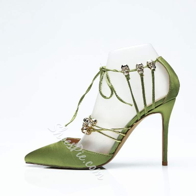 Green Lace-Up Sexy Stiletto Heels