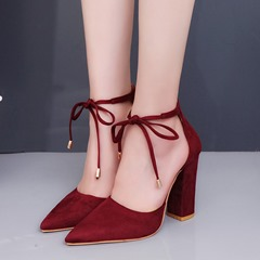 Shoespie Lace-Up Pointed Toe Low Heels