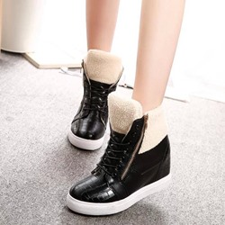 Shoespie Cross Strap Platform Plain Black Sneakers