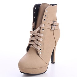 Shoespie Platform Buckle Plain High Heels Boots