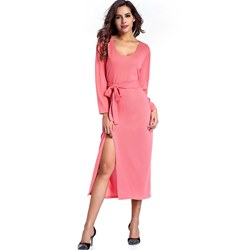 Shoespie Belt Split Elegant Women's Maxi Dress